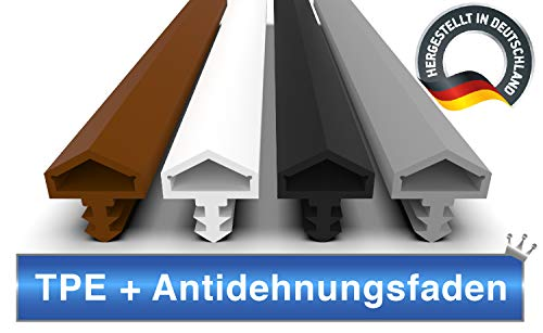 Türdichtung Braun 5m - 4mm Nutbreite / 7mm Nuttiefe / 12mm Falz - Antidehnungsfaden Haustürdichtung Türanschlagdichtung Zimmertürdichtung (braun 5m)