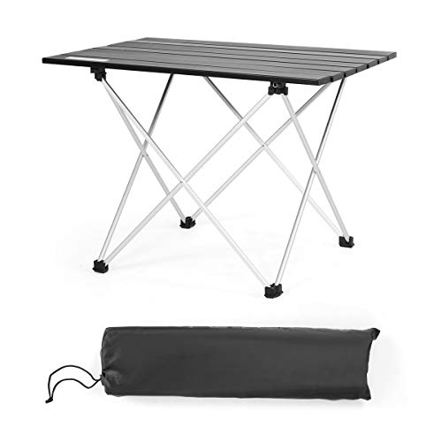 COSTWAY Portable Camping Table Lightweight Roll up Table with Aluminum Tabletop and Carrying Bag Outdoor Folding Picnic Table for Cooking Dining Hiking Fishing BBQ Black 56 x 41 x 41cm