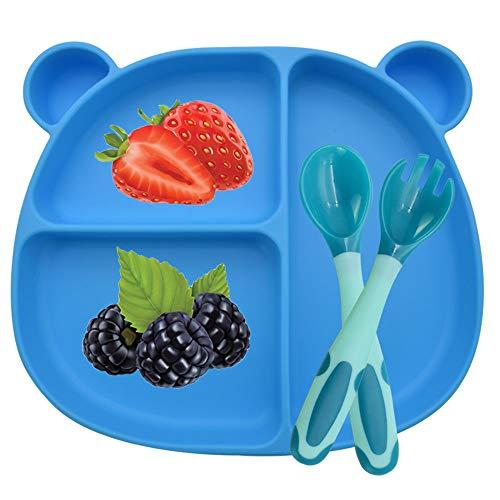 BeiLan Plato de Silicona con Ventosa para Bebe - Plato Infantil Antideslizante con Succion con Cuchara y tenedor, Azul