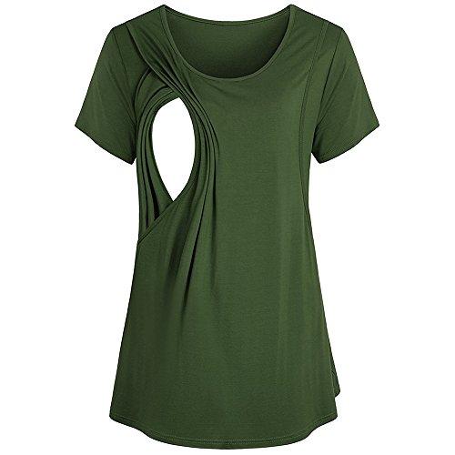 Women Maternity Nursing Breastfeeding Pregnant Shirt Top Blouse 2020 (Green, XL Bust:108cm/42.5'')