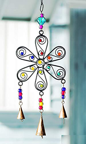 Stunning Flower Wind Chime Handmade with Iron, Mixed Ornament Beads 'N' Bells, Perfect For Home and Garden