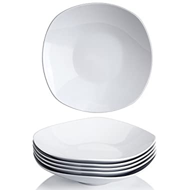 YHY 9-inch Porcelain Salad/Pasta/Cereal Bowls,White Square Bowl Set, Wide & Shallow, Set of 6