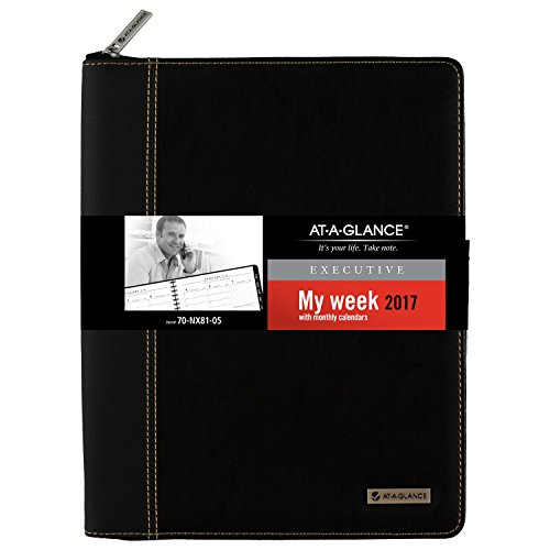 "AT-A-GLANCE Weekly / Monthly Appointment Book / Planner 2017, Executive, 8-1/4 x 10-7/8"", Black (70-NX81-05)"