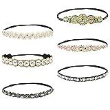 QLOUNI 6 Piezas Bandas para la Cabeza Elásticas, aro Diadema Cristal Diamante de Imitación Bandas para el Pelo Accesorios para el Cabello de la Boda para Mujer