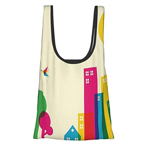 Colorido estilo de arte abstracto volando origami colibríes coloridos edificios y árboles imprimen bolsas de comestibles reutilizables multicolores, bolsa de compras ecológica