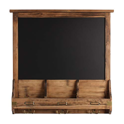 Kate and Laurel Stallard Decorative Rustic Wood Home Organizer with Chalkboard, Pockets, and Key Hooks, Rustic Brown