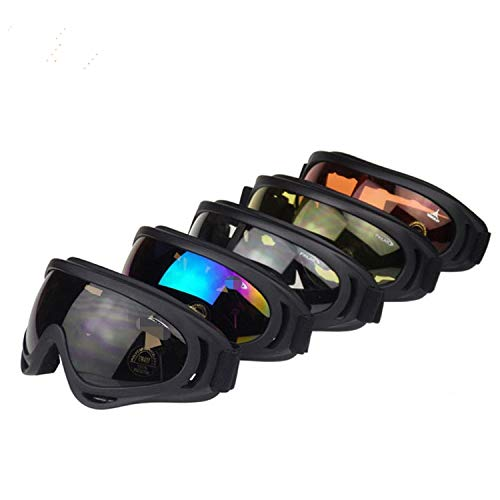 Dplus Motorcycle Goggles - Glasses Set of 5 - Dirt Bike ATV Motocross Anti-UV 400 Adjustable Riding Offroad Protective Combat Tactical Military Goggles for Men Women Kids Youth Adult (NEW)