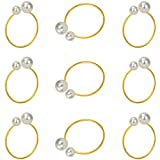 KPOSIYA Pearl Napkin Rings - Set of 20 Gold Napkin Holder Table Napkin Buckles for Dinning Table Setting Christmas Wedding Party Supplies (Pearl-Gold 20)
