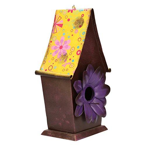 Mangeoire en métal à suspendre Décoration design Nichoir-env. 31,5 cm x 17,5 cm x 12 cm – Jaune/Marron/Violet
