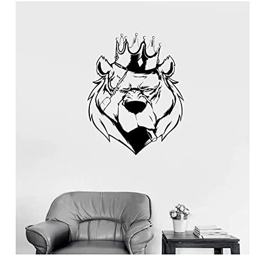 WYLYSD Naklejka Ścienna Król Bestii Bestia Zwierzę Grizzly Drapieżnik Naklejka Salon Zoo Dekoracyjne Naklejki Ścienne 57X72Cm