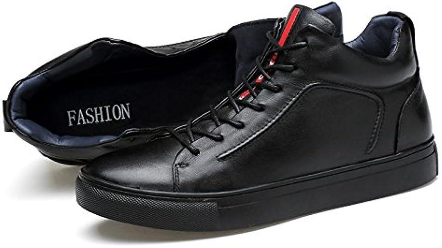 LOVDRAM Bottes Homme Chaussures De Coton d'hiver en Cuir pour Hommes Haut pour Aider Les Bottes De Neige en Plein Air Casual épaississement Chaussures pour Hommes