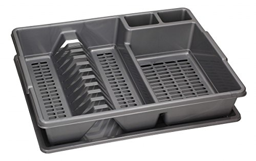 Large Dish Drainer Rack Utensil Cutlery for Kitchen, Plate Holder with Dripping Tray (43x35x9 cm with Tray, Grey)