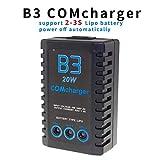 ICQUANZX Caricabatterie con bilanciamento della batteria al litio (20W 1600ma), B3 PRO 2S-3S Adatto per aeromobili con telecomando, batteria Lipo