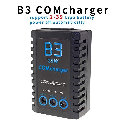 ICQUANZX Cargador de batería de Litio Balance 20W 1600ma, B3 Pro 2S-3S Adecuado para Aviones de Control Remoto, batería Lipo