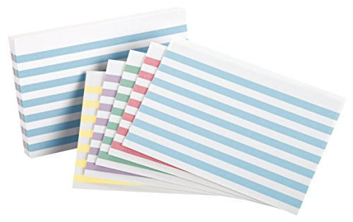 Oxford Color Bar Ruled Index Cards, 4 x 6 Inches, Assorted Colors, 100 per Pack (05146)