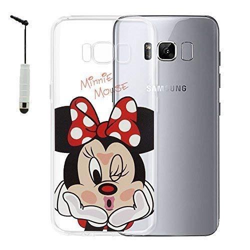 VCOMP Cubierta de Silicona TPU Transparente Ultra Fina Dibujo Animados Bonito Tema Navidad para Samsung Galaxy S8 Galaxy S8 Plus 6.2' - Minnie Mouse + Mini lápiz óptico