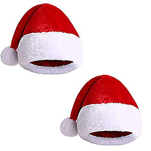 Pack 2 Gorro Papá Noel de Navidad de Santa Claus de Terciopelo de Felpe Rojos de Invierno para Fiesta (FYQ-216, NIÑO)