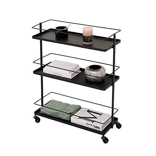 NBVCX Furniture Decoration Table Metal Bar Cart Black Wheels with 3 Layer Shelves Iron Rack Universal Wheel is Easy to Move 2 Sizes (Color : Black Size : 13.77 * 9.84 * 30.31in)