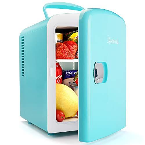 AstroAI 2 in 1 Mini Kühlschrank, 4 Liter Fridge mit Kühl- und Heizfunktion 12 Volt am Zigarettenanzünder und 230 Volt Steckdose für Autos, Büros und Schlafsäle,Tiffany Blau