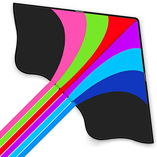 Stoie s Huge Rainbow Kite for Kids and Adults–62 inch Wide and 38 Inch Long–320 ft String–Rainbow Color-Built to Last