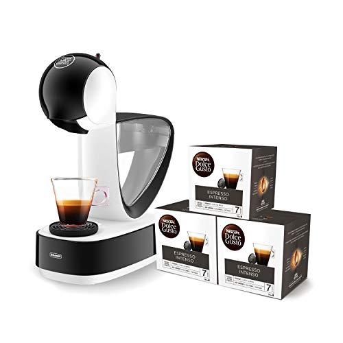 Pack De'Longhi Infinissima EDG260.W - Cafetera de cápsulas Nestlé Dolce Gusto, 15 bares de presión, color blanco + 3 packs de café Dolce Gusto Espresso Intenso