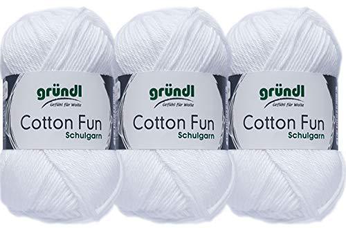 3x50 Gramm Gründl Cotton Fun Häkelgarn Schulgarn aus 100 % Baumwolle + 1 Anleitung für ein Meerschwein (01 Weiss)