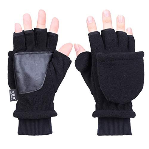 Nankod - Guantes de forro polar para mujer y hombre, de forro polar, doble capa, gruesos, sin dedos, convertibles, guantes de muñeca, con cubierta a