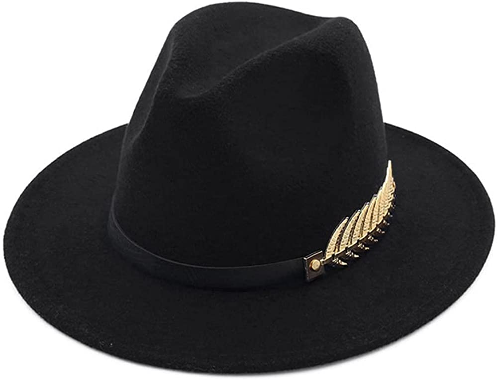 HUDANHUWEI Women's Wide Brim Fedora Panama Hat with Metal Belt Buckle