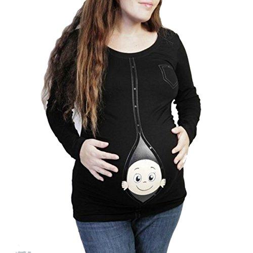Q.KIM Maternité Peeking Baby T-Shirt à Manches Longues Cute Funny Pregnancy Tops-Bébé, Noir XXXL