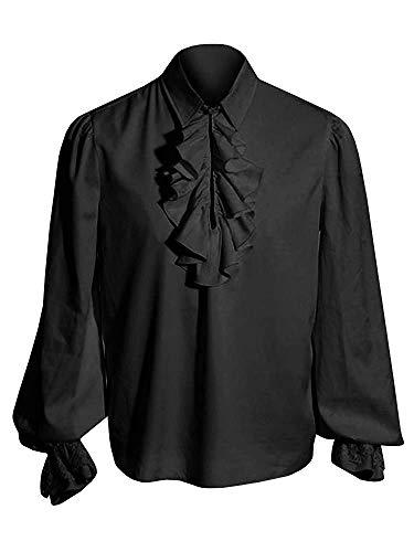 Hooleeger Herren Rüschenhemd Mittelalter Hemd Gothic Steampunk Cosplay Piraten Hemd Halloween Karneval Kostüm