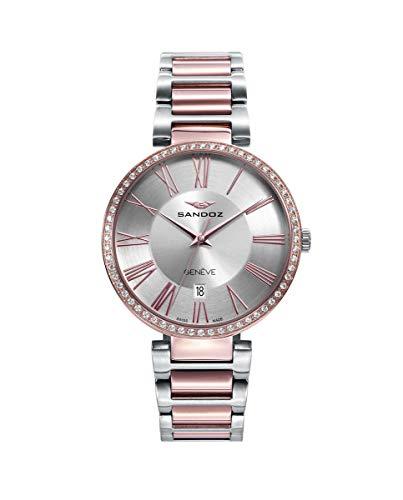 Reloj Sandoz Bicolor Rosa Plateado Mujer 81364-83