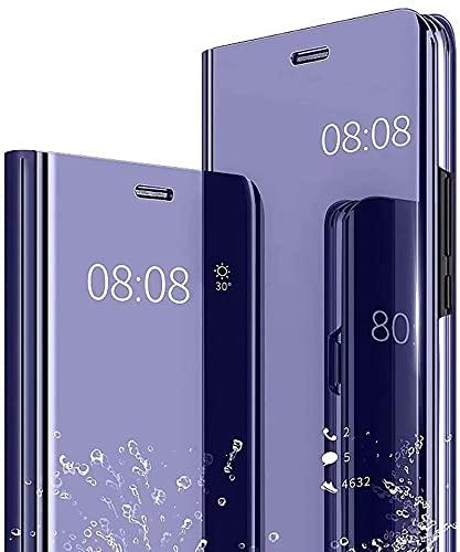 LEYAN Smart View Clear Hülle für Oppo A53s, Spiegeln Folio Cover Schutzhülle Flip Mirror Hülle, PU/PC Lederhülle Handyhülle mit Flip Klappbarer Ständer - Lila Blau