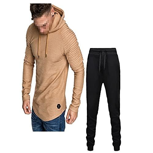 ZZOU Men's Tracksuit Set Gym Jogging Bottoms Trouser Tops Full Zip Jacket Long Sleeve Hoodie Jogging Sports Suits Sports Fitness Suit Running Sets Yoga Suit Sportswear Gym Casual Wear Hoodies Khaki