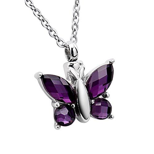 KY Collar Colgante urna Conmemorativa Mariposa, Acero
