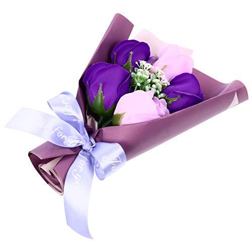 ABOOFAN Seife Rose Geschenk Bouquet Künstliche Blumen Bouquet Box Duftend Blumengeschenk für Valentinstag Jubiläum Geburtstag Neujahrsgeschenk (Lila)