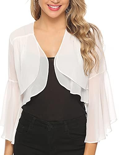 Aibrou Women Shrugs Summer Chiffon 3/4 Sleeve Open Front Cropped Bolero Cardigans for Evening Dress Wedding Cape White S