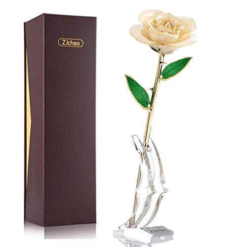 ZJchao 24K Beige Rose for Her, Dipped Gold Rose Eternity Love Real Golden Plated Preserved Forever Flower with Rose Stand Present for Wife/Mom/Grandma (Beige)