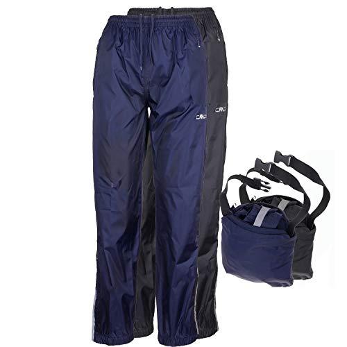 CMP Regenhose Damen I wasserdicht ungefüttert Packaway in Hüfttasche I blau schwarz I Überziehhose 3000 mm Wassersäule mit Beutel Rebekara, Farbe:Nero, Größe:36