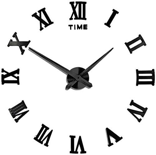 HCYY Reloj de Pared Reloj de Pared Grande silencioso de Bricolaje Moderno, Reloj de números Romanos con Adhesivo de Espejo 3D, para Decoraciones de Oficina en casa, Sin Marco, Decoración para el