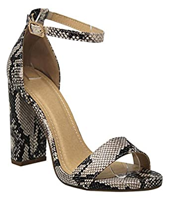 MVE Shoes Women's Open Toe Chunky Heel Strappy Heeled Sandal, Shiner CRM SNK 7.5