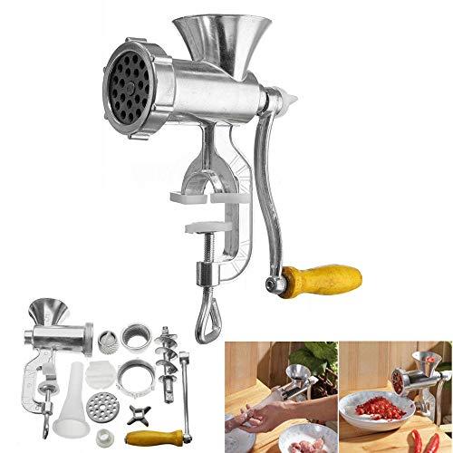 Picadora manual de acero inoxidable, molinillo de carne manual para salchichas, rellenadora para carne de cerdo, vacuno pescado, pollo, pimienta y setas
