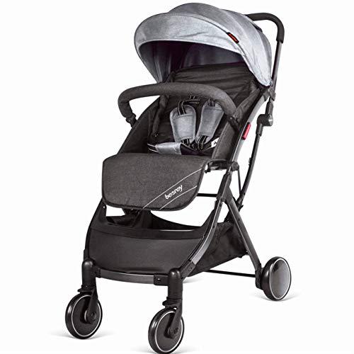 Besrey Passeggino da Aereo Passeggino Pieghevole e Reclinabile Passeggino Compatto e Leggero, per Bambini da 0-36 Mesi-Grigio …