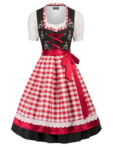 SCARLET DARKNESS Vestido tradicional tirolés para mujer, 3 piezas, hasta la rodilla, para Oktoberfest, 3 piezas, vestido, blusa, delantal, Negro Y Rojo #94, XL