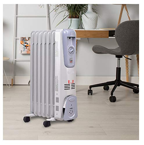 """1500 Watt Portable Electric Oil Filled Space Heater With 3 Heat Settings 25"""" Height For Bedroom,Indoor Use Heater Oil Space"""