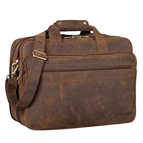 STILORD 'Leopold' Grande borsa in pelle da Insegnante Professore Portadocumenti a tracolla per Ufficio Lavoro A4 raccoglitori in cuoio Uomo Donna, Colore:colorado - marrone