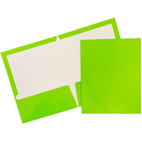 JAM PAPER Laminated Two Pocket Glossy School Folders - Letter Size - High Gloss Lime Green - Bulk 25/Pack
