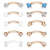 ORAZIO 16G 6MM Eyebrow Belly Button Rings Rook Earrings Daith Helix Piercings Barbell Body Jewelry Rose Gold Tone