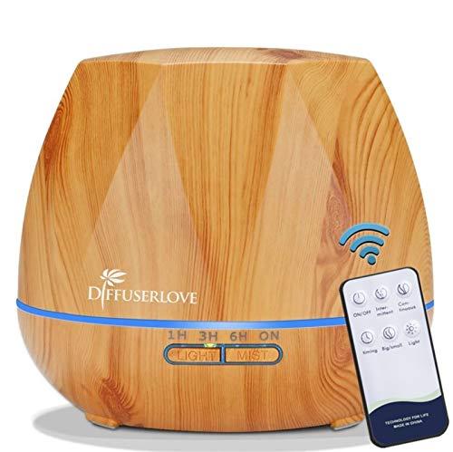 Diffuserlove 550ML diffuser Aroma diffuser Ultraschall Luftbefeuchter Trag usor Cool Mist Humidifier mit Fernbedienung,7 Farben LED und AUTO-Abschaltung Funktion,Perfekt für SPA, Massage, Yoga