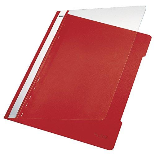 Leitz 41910025 Standard Hefter (A4, langes Beschriftungsfeld, PVC) rot