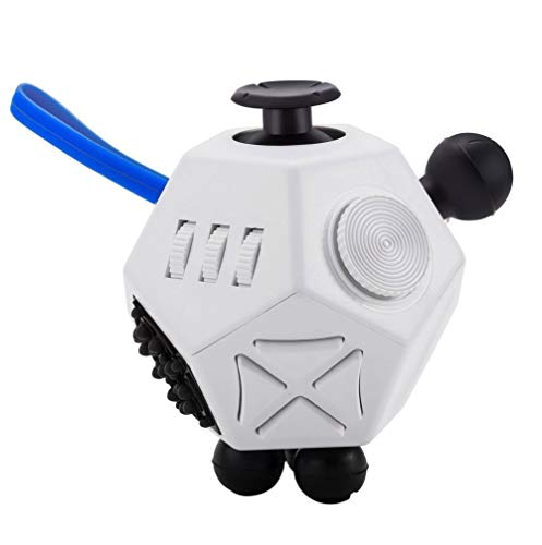 12 Sided Fidget Cube,Fidget Dodecagon Toys Anti-anxiety,Relieves Stress and Autism for Kids ,Teens and Adults(White/A2)